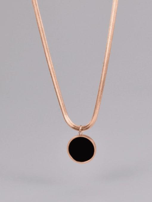 A TEEM Titanium Steel Enamel Round Minimalist Necklace