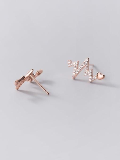 Rosh 925 Sterling Silver Rhinestone Heart Dainty Stud Earring 4