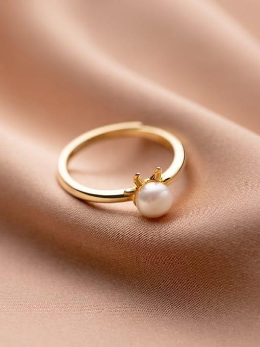 gold 925 Sterling Silver Imitation Pearl Irregular Minimalist Band Ring