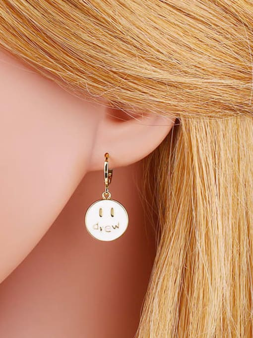 CC Brass Enamel Round Hip Hop Huggie Earring 3