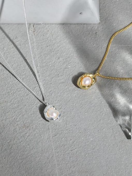 DAKA 925 Sterling Silver Imitation Pearl Irregular Vintage Necklace 1