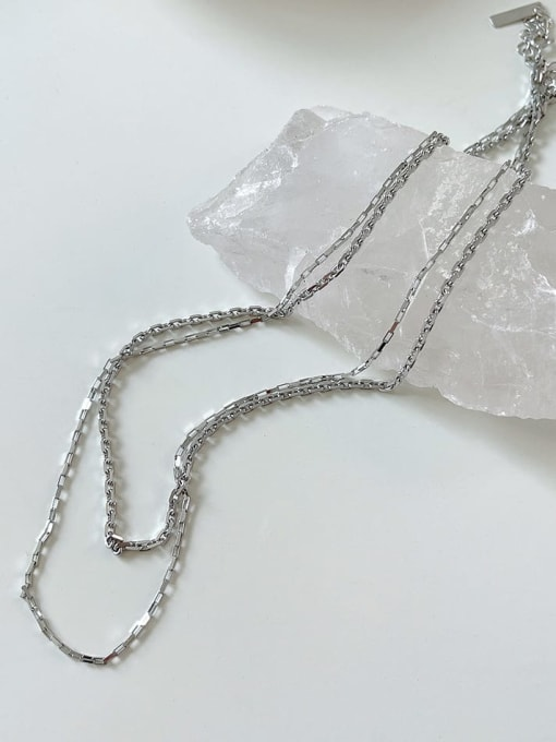 Boomer Cat 925 Sterling Silver Geometric Minimalist Double layer Chain Necklace 4