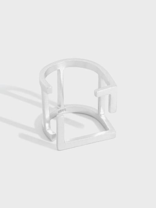 DAKA 925 Sterling Silver Hollow Geometric Vintage Band Ring