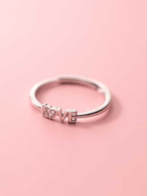 Rosh 925 Sterling Silver Cubic Zirconia Letter Minimalist Band Ring 2