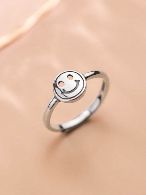 Rosh 925 Sterling Silver Hollow Face Cute Band Ring