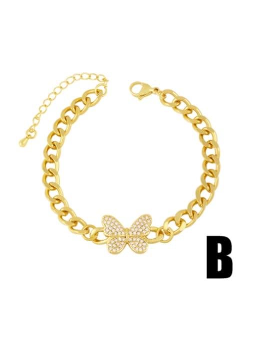 B Brass Cubic Zirconia Butterfly Vintage Hollow Chain  Bracelet