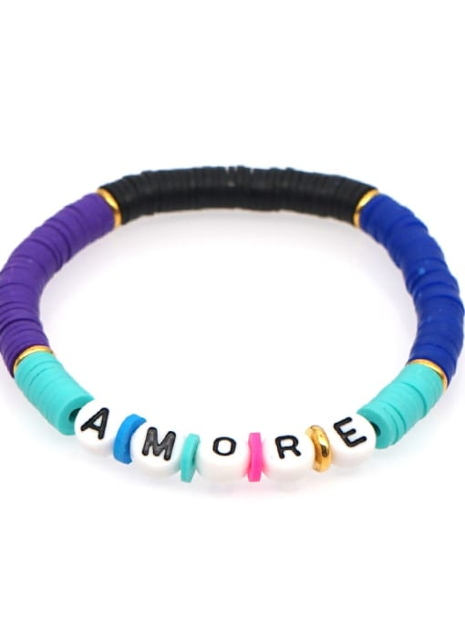 QT B200011F Stainless steel Multi Color Polymer Clay Letter Bohemia Stretch Bracelet