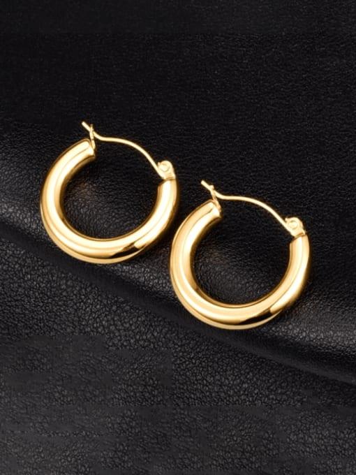 A TEEM Titanium Steel Smooth Round Minimalist Huggie Earring
