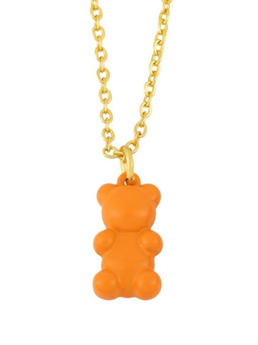 orange Brass Enamel Cute Bear Pendant Necklace