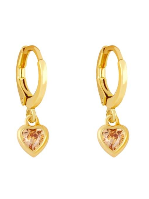Champagne Brass Cubic Zirconia Heart Minimalist Huggie Earring