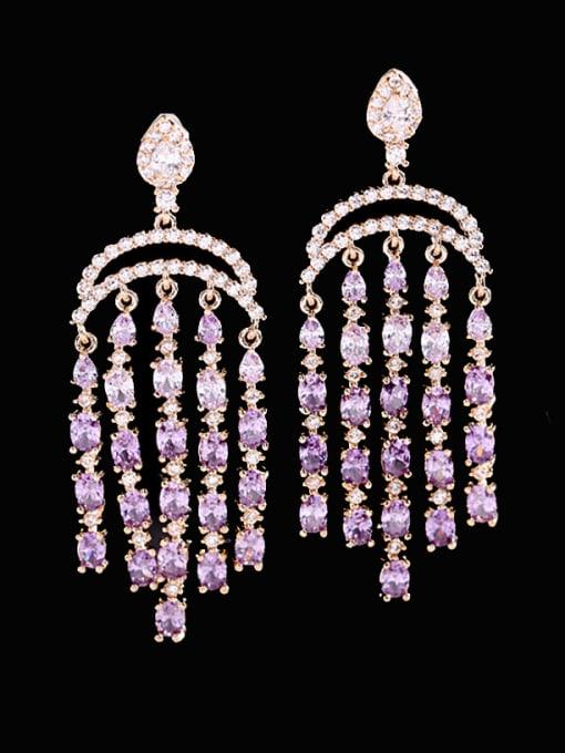 Purple Brass Cubic Zirconia Tassel Luxury Cluster Earring