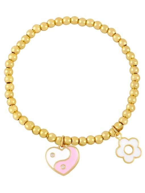 Pink Brass Enamel Evil Eye Minimalist Beaded Bracelet