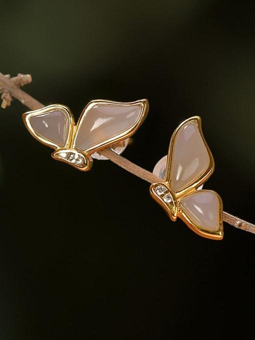DEER 925 Sterling Silver Jade Butterfly Vintage Stud Earring 1