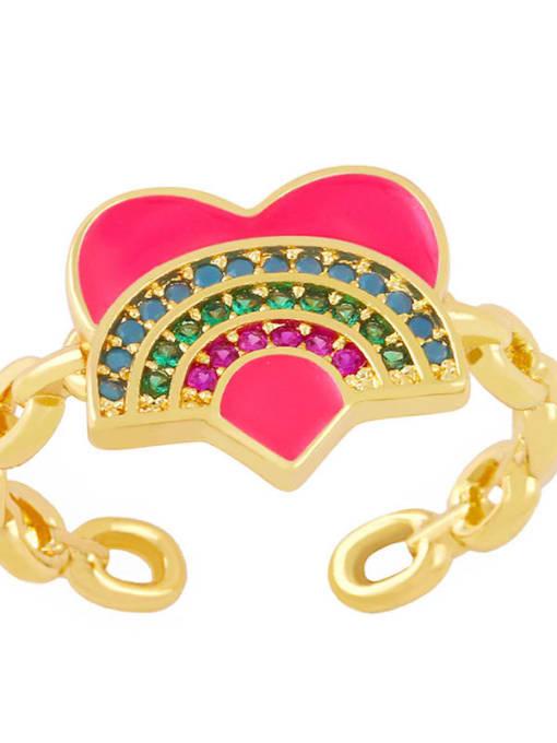 Rose red Brass Enamel Rainbow Vintage Band Ring
