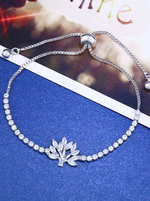 CC Brass Cubic Zirconia Tree Minimalist Adjustable Bracelet 0