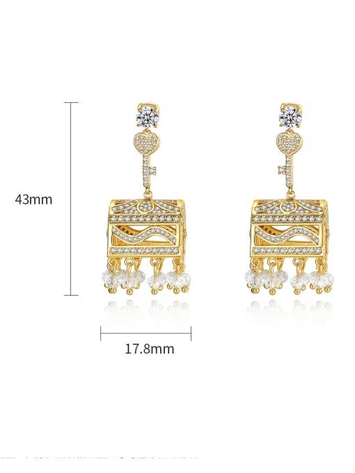 BLING SU Brass Cubic Zirconia Geometric Luxury Drop Earring 3