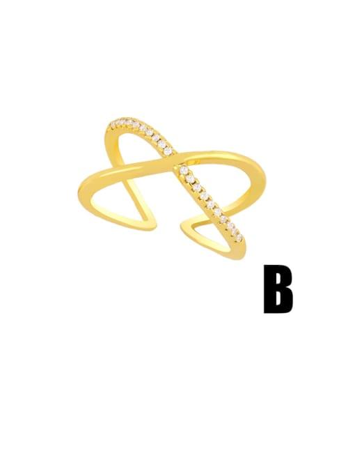 B Brass Rhinestone Minimalist Double Cross Stackable Ring