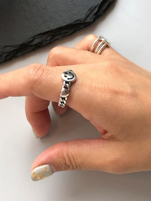 Boomer Cat 925 Sterling Silver Smiley Minimalist Band Ring 2