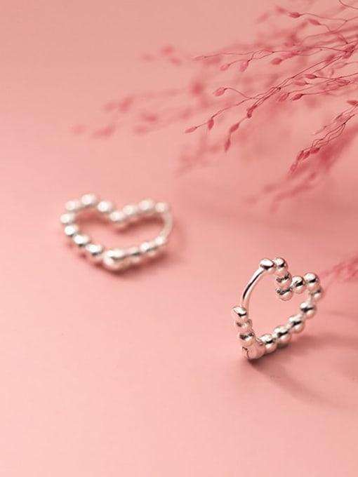 Rosh 925 Sterling Silver Bead Heart Minimalist Huggie Earring 2