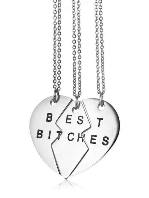 CONG Titanium Steel Heart Minimalist  Letter Penadant Necklace 0