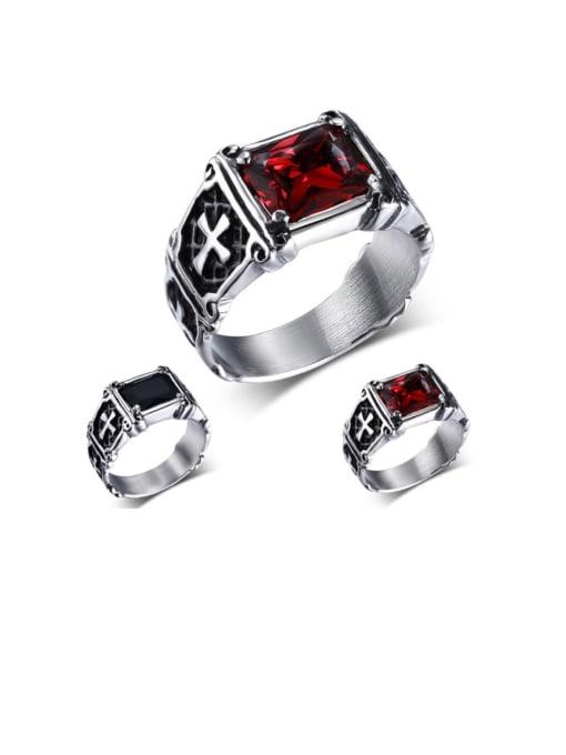 CONG Titanium Steel Glass Stone Geometric Vintage Band Ring 0