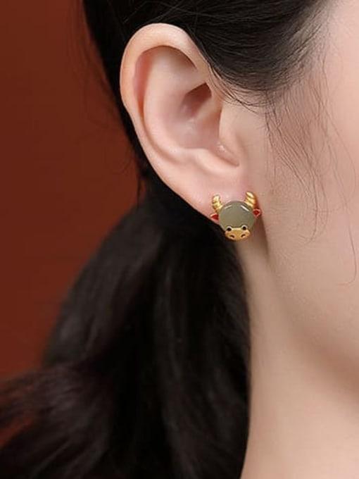 DEER 925 Sterling Silver Jade Zodiac Cute Stud Earring 1