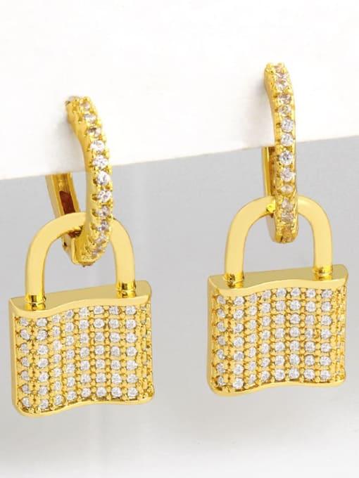 CC Brass Cubic Zirconia Locket Vintage Huggie Earring 1