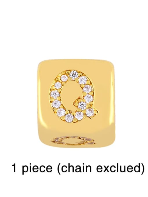 Q Brass Cubic Zirconia square Letter Minimalist Adjustable Bracelet