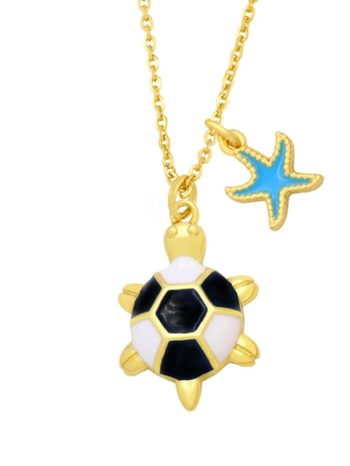C (blue) Brass Enamel Star Vintage tortoise Pendant Necklace