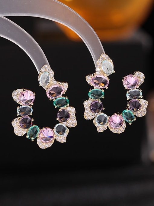 Color zirconium Brass Cubic Zirconia Flower Luxury Stud Earring