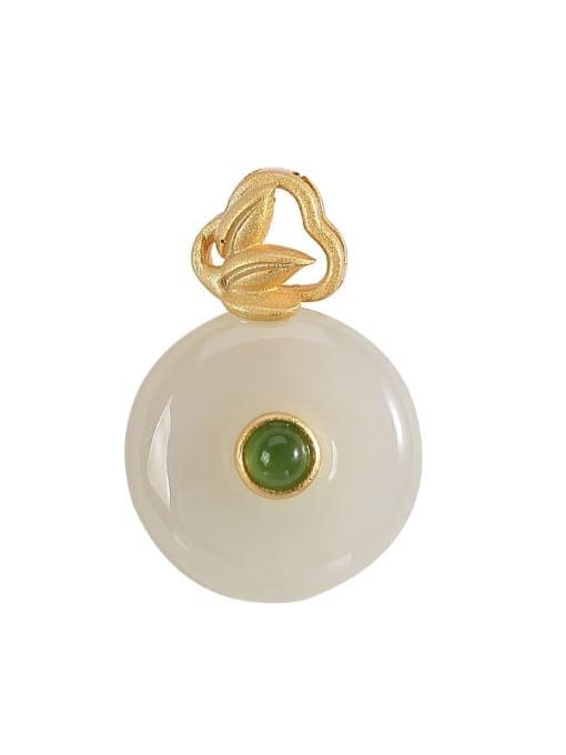 DEER 925 Sterling Silver Jade Minimalist  Round Pendant 0