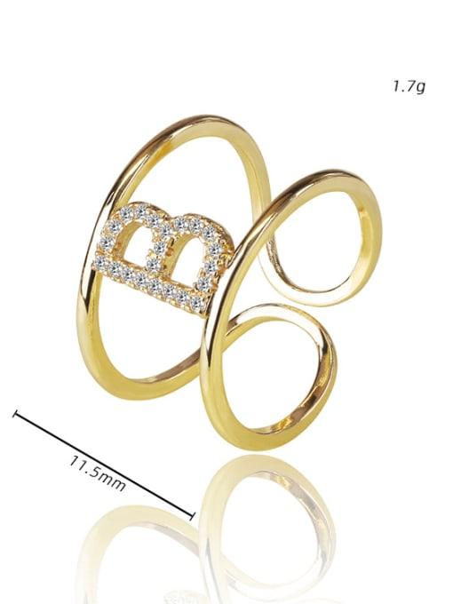 DUDU Brass Cubic Zirconia Letter Minimalist Stackable Ring 2