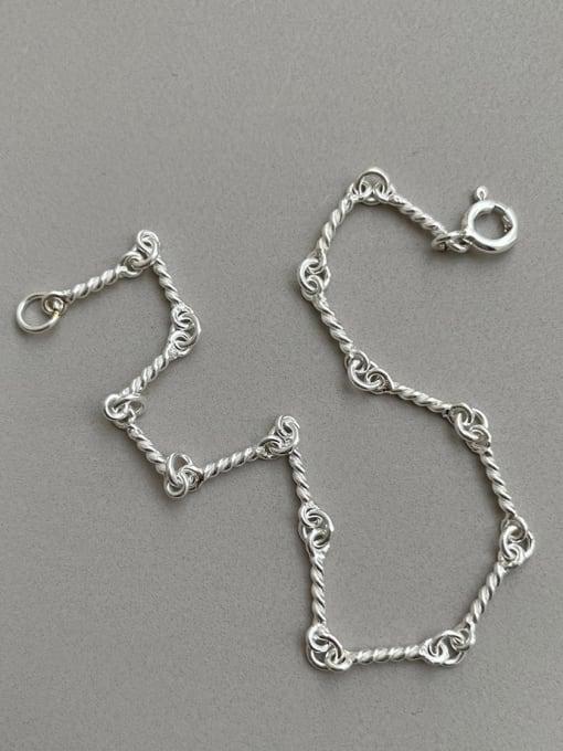 Boomer Cat 925 Sterling Silver Irregular Vintage Link Bracelet