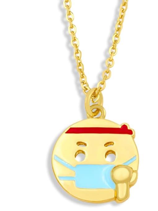 nku96 B Brass Enamel Geometric Hip Hop Necklace