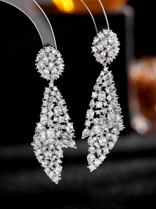 White zirconium Brass Cubic Zirconia Geometric Luxury Drop Earring