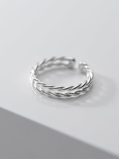 Rosh 925 Sterling Silver Leaf Minimalist Band Ring
