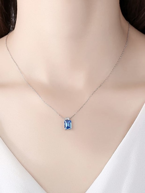 CCUI 925 Sterling Silver Cubic Zirconia Geometric Minimalist Necklace 1