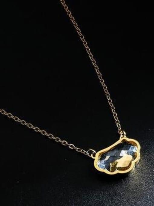 A TEEM Titanium Steel Glass Stone Cloud Minimalist Necklace 2