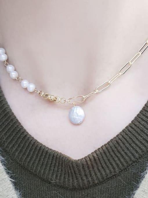 RAIN Brass Freshwater Pearl Geometric Minimalist Necklace 1