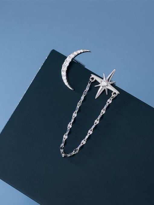 Rosh 925 Sterling Silver Cubic Zirconia Asymmetry Moon Tassel Minimalist Huggie Earring 1