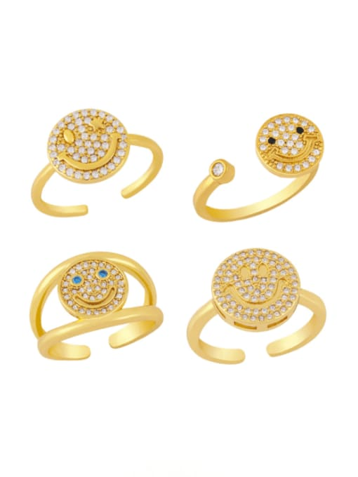 CC Brass Cubic Zirconia Smiley Vintage Band Ring