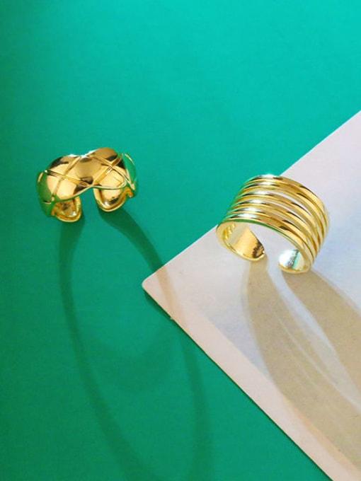 CC Brass Smooth Geometric Vintage Band Ring 3