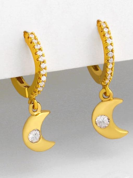 CC Brass Cubic Zirconia Star Minimalist Huggie Earring 2