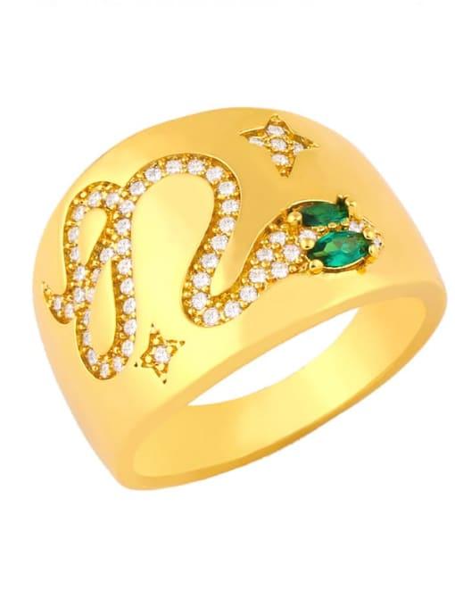 gold Copper Rhinestone Snake Vintage Ring