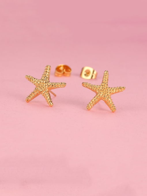 CONG Titanium Steel Star Vintage Stud Earring