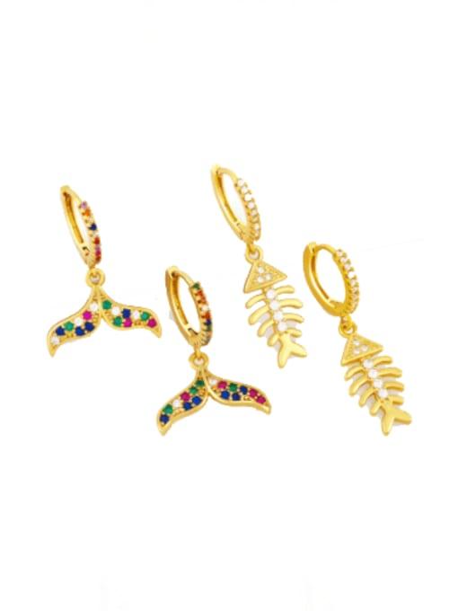 CC Brass Cubic Zirconia Fish tail fish bone Hip Hop Huggie Earring 0
