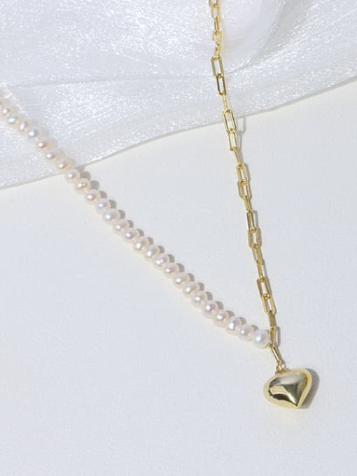 RAIN Brass Freshwater Pearl Heart Minimalist Necklace 2