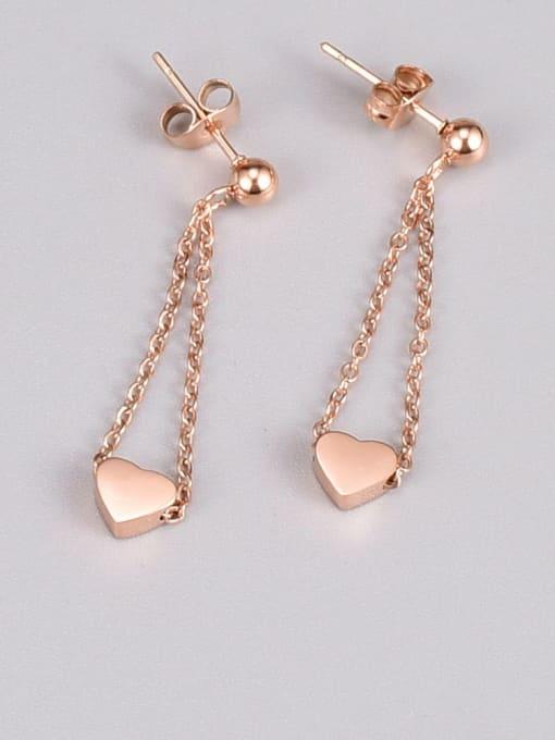 A TEEM Titanium Steel Heart Tassel Minimalist Drop Earring 2