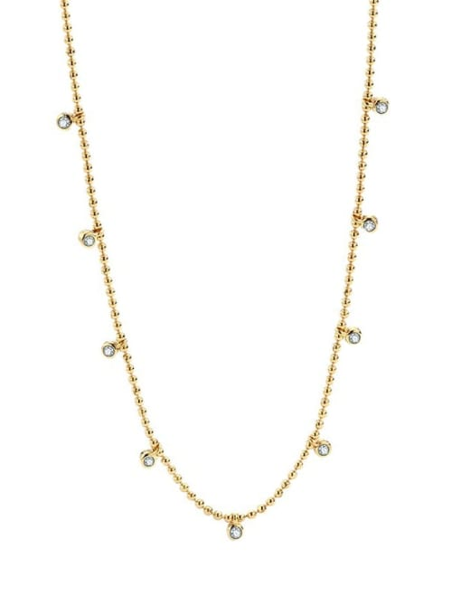 CHARME Brass Bead Geometric Minimalist Beaded Necklace 0