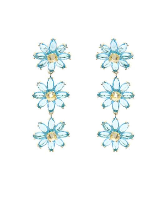 Luxu Brass Cubic Zirconia Flower Dainty Drop Earring 3